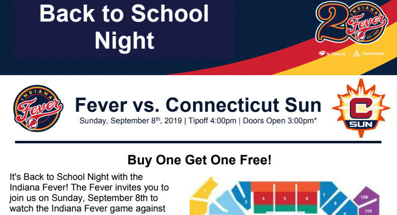 Indiana Fever Back to School Night